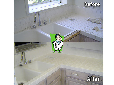 Countertop Tile Cleaning Gallery - Grout Joint Cleaning, Denver CO