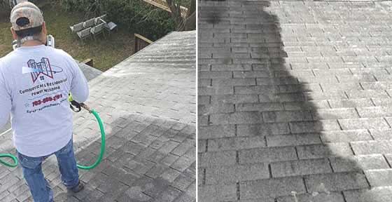 Roof Cleaning with Soft Washing, Low Pressure Washing in VA, MD, & DC