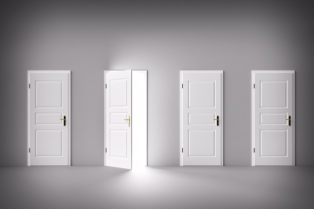 Door open to the light, new world, chance or opportunity. Decision making